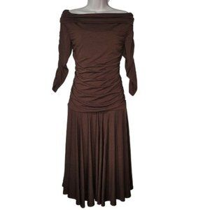 Melissa Masse Brown Off Shoulder Rouched Dress NWT
